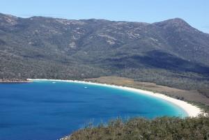 View overlooking Wineglass bay beach in Tasmania
