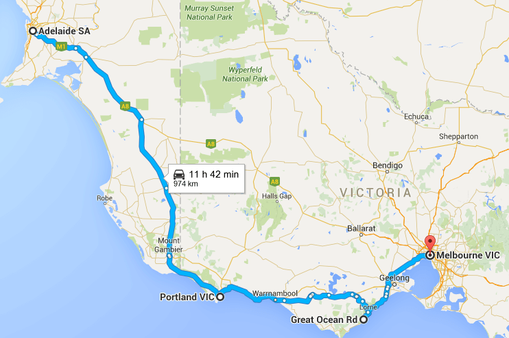 Things to see on Perth to Melbourne road trip. Perth to Melbourne road trip map