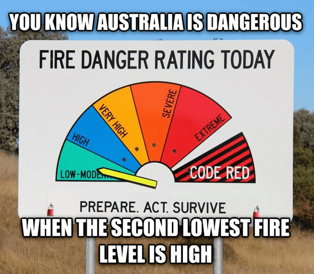 110+ Moving To Australia Tips. - Be aware of fires! You know Australia is dangerous when the second lowest fore level is HIGH!