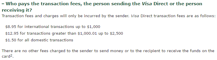 Who pays the fees Visa Direct Send Money Online TD Canada Trust (1)