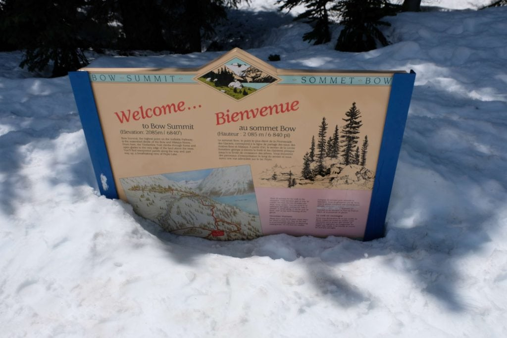 Canadian rockies road trip along the way from Banff to Jasper. Stopping in Bow Summit Sign post