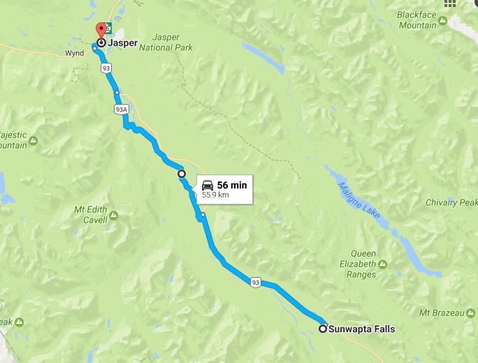 Sunwapta falls to Jasper National park