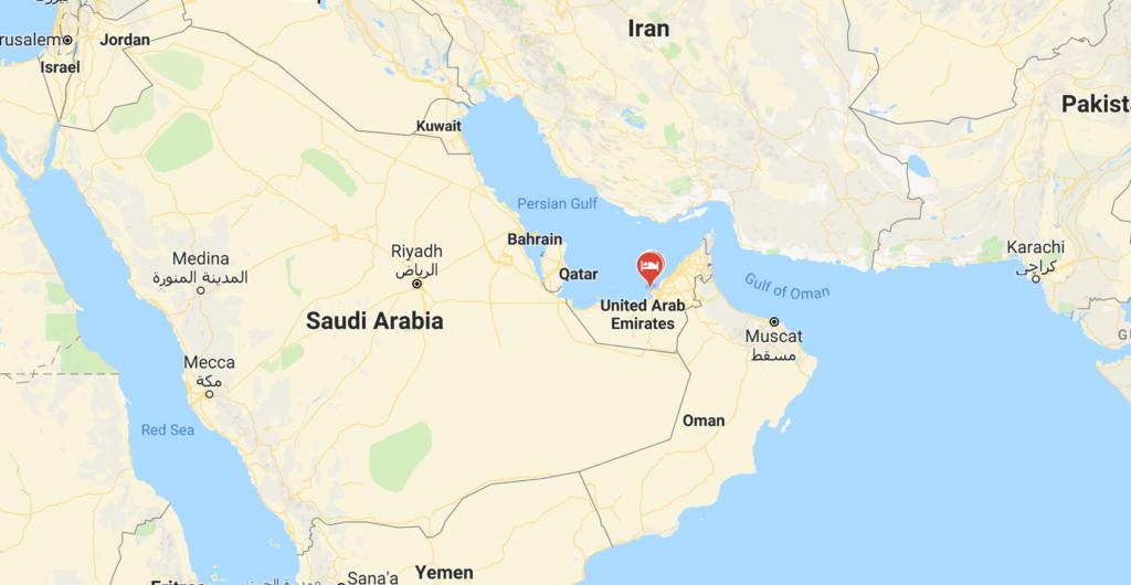 Where is Dubai and surrounding borders.
