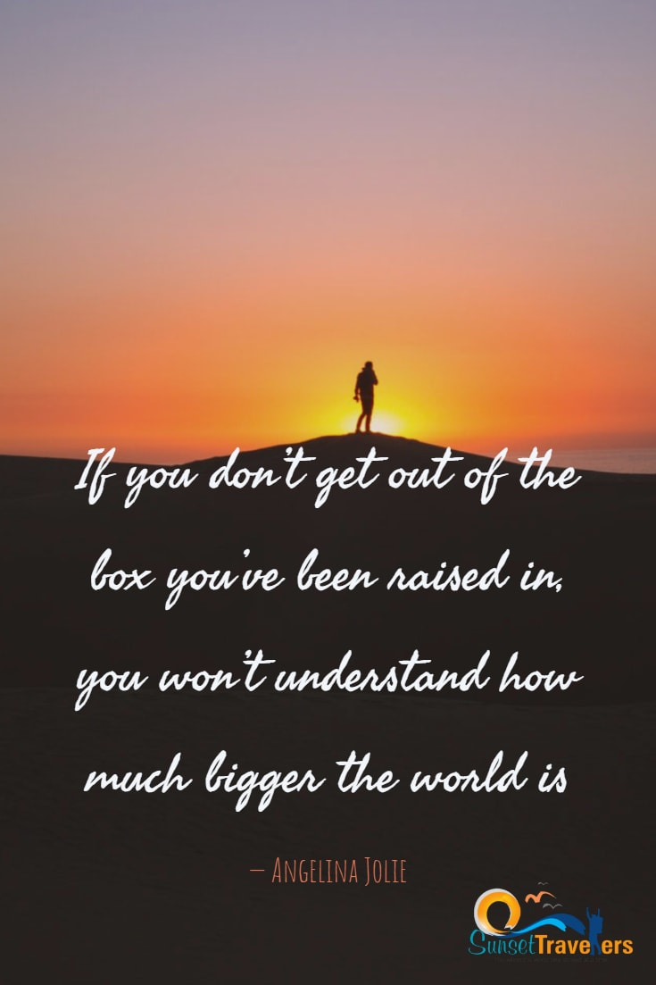 If you don't get out of the box you've been raised in, you won't understand how much bigger the world is - Angelina Jolie