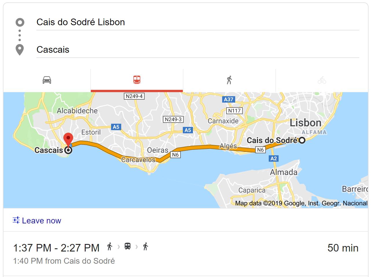 train map from Lisbon(Cais do Sodre) to Cascais