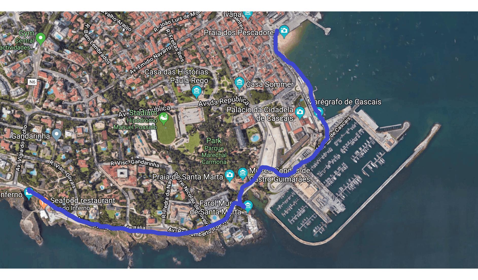 Route from Cascais center to Boca Do Inferno