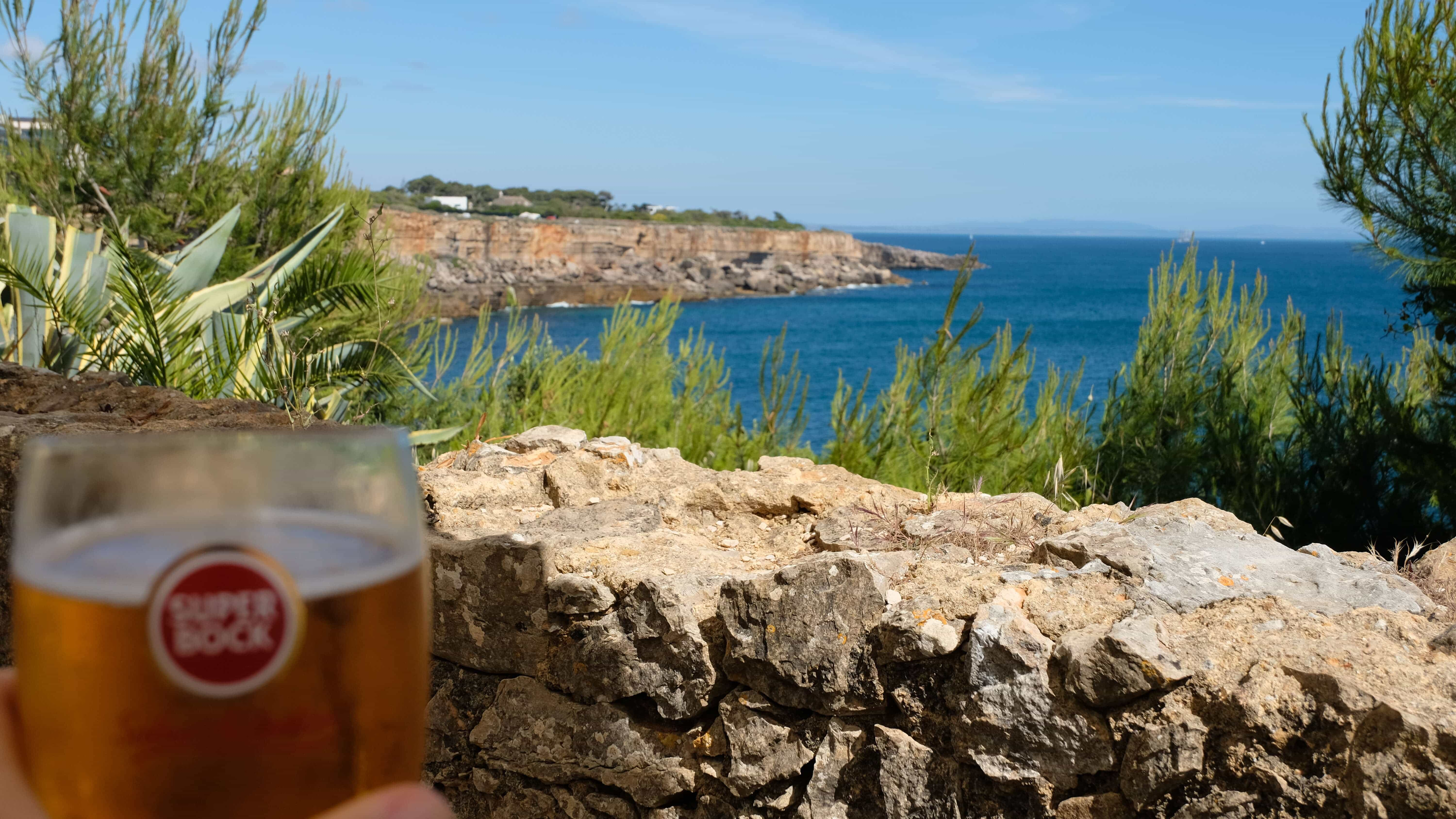 Casa De Guia overlooking the atlantic ocean with an ice cold superbock