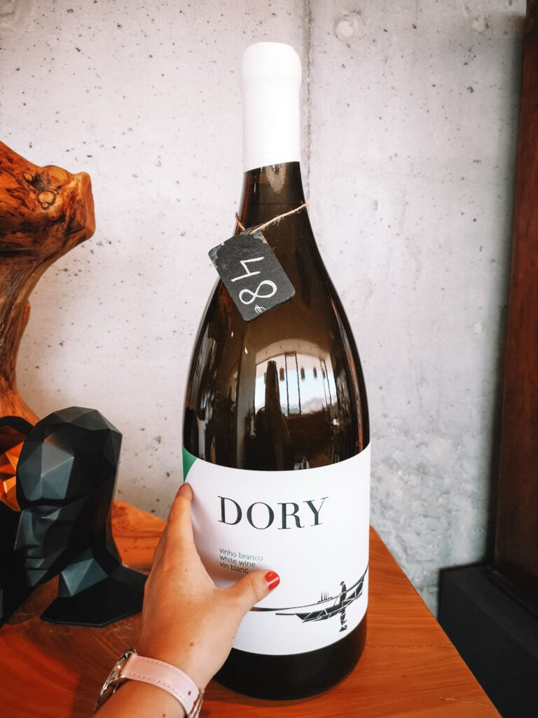 Giant bottle of Dory wine from Lisbon wine brewery.
