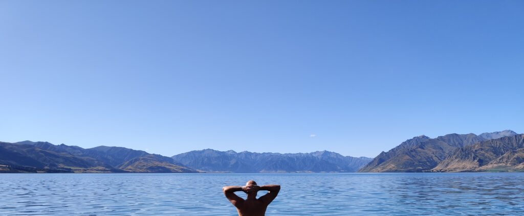 Swimming in Lake Hawea near Wanaka