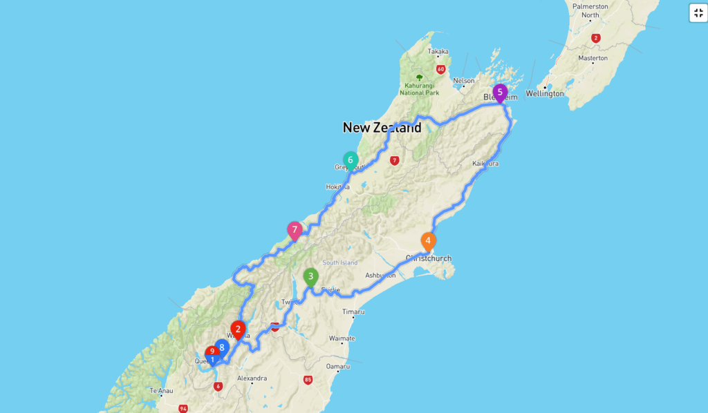 New Zealand road trip map of South Island